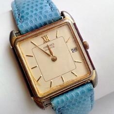 Ceas de dama vintage Seiko placat cu aur - Ceas dama Seiko, Elegant, Quartz, Piele, Data