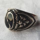 Inel argint Masiv vechi cu Onix Splendid executat manual Ipunator de Efect Rar