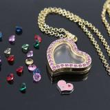 Lant suflat cu aur de 9K + pandantiv inima care se deschide - Colier placate cu aur
