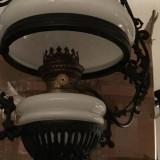 LAMPA DE PETROL TRANSFORMATA IN CANDELABRU- ANTICA, Lustre