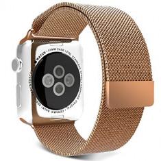 Curea pentru Apple Watch 42mm Otel Inoxidabil iUni Rose Gold Milanese Loop - Smartwatch