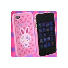Husa tip capac plastic Hello Kitty roz + inimioare pentru te