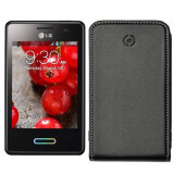 Husa Flip Cover Celly 70784 Face neagra pentru LG Optimus L3 II