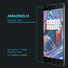 Geam OnePlus 3 A3000 Tempered Glass Amazing H by Nillkin - Folie de protectie OnePlus, Lucioasa