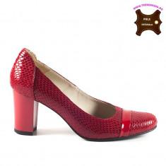 Pantofi dama piele naturala DEA rosu sarpe lac (Marime: 35) - Pantof dama