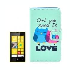 Husa piele Nokia Lumia 520 Funny Owl - Husa Telefon