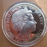 Jersey 10 pounds nunta regala 5 uncii argint (155 grame), foarte rar! (450 ex)
