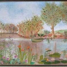 Tablou Peisaj pe malul lacului tesatura broderie inramata 63x96 cm