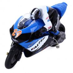 Motocicleta iUni MotoToy 222, Giroscop, Scara 1:10, Albastru - Masinuta de jucarie