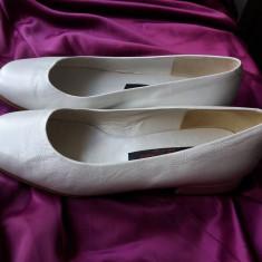 PANTOFI ELENA RICCI ITALIA PIELE NATURALA 100% - Pantof dama, Marime: 36.5, Culoare: Alb