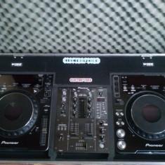 -Vand 2 Playere Pioneer cdj1000mk3+Mixer Pioneer djm 400+case - CD Player DJ