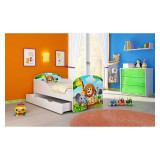 Pat Junior 140 x 70 cm cu saltea si sertar Animals Acma - Patut lemn pentru bebelusi