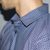 Cămașă albastra cu imprimeuri albe barbati-eleganta- tip ZARA - Slim Fit -casual