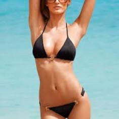 Costum de baie negru Victoria's Secret Sutien triunghi si Slip bikini, Marime: M