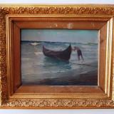 """Dimitrie Florian, """"Plecarea la pescuit"""", ulei pe carton (marina) - Pictor roman, Marine, Impresionism"""